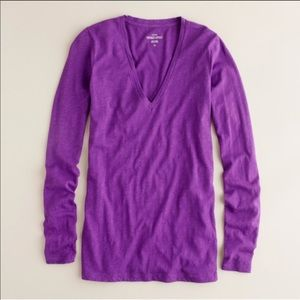 NWT J.Crew V-Neck Long Sleeve Tee in Purple